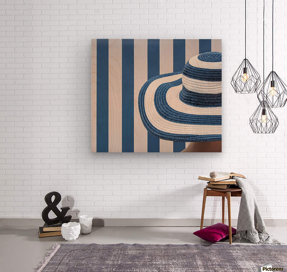 Blue and white  Wood print