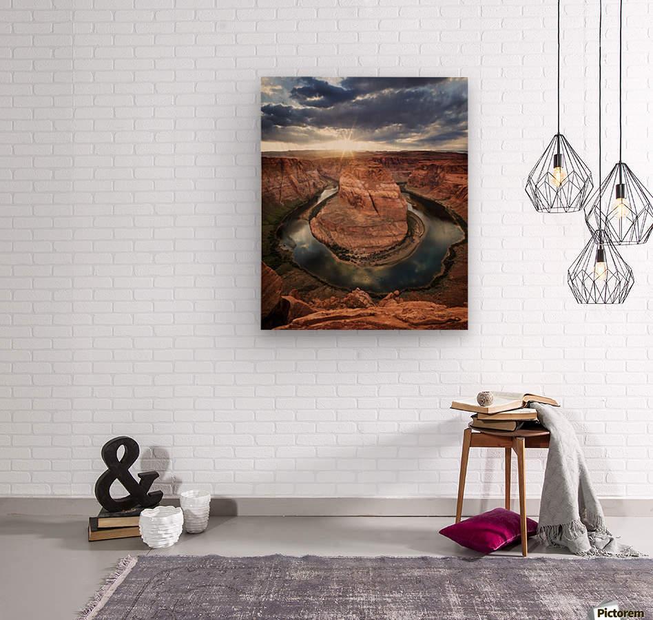 Dramatic sunset at Horseshoe Bend; Page, Arizona, United States of America  Wood print