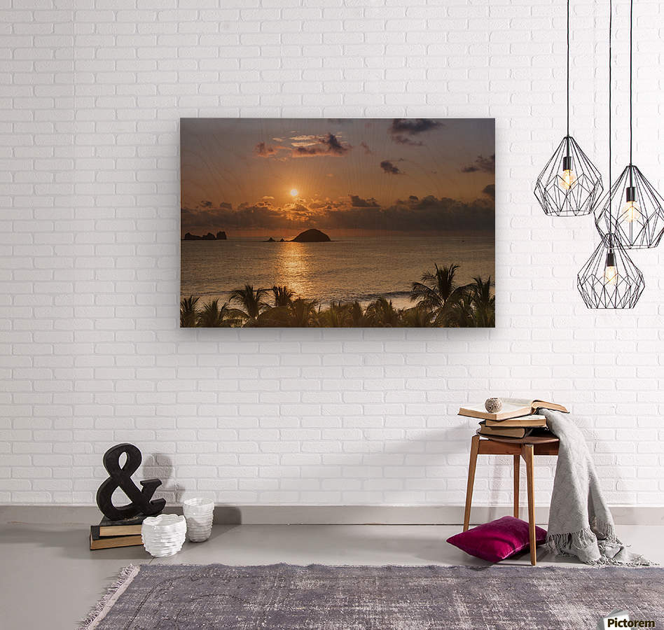 Sunset over the islands in front of Ixtapa; Ixtapa, Mexico  Wood print
