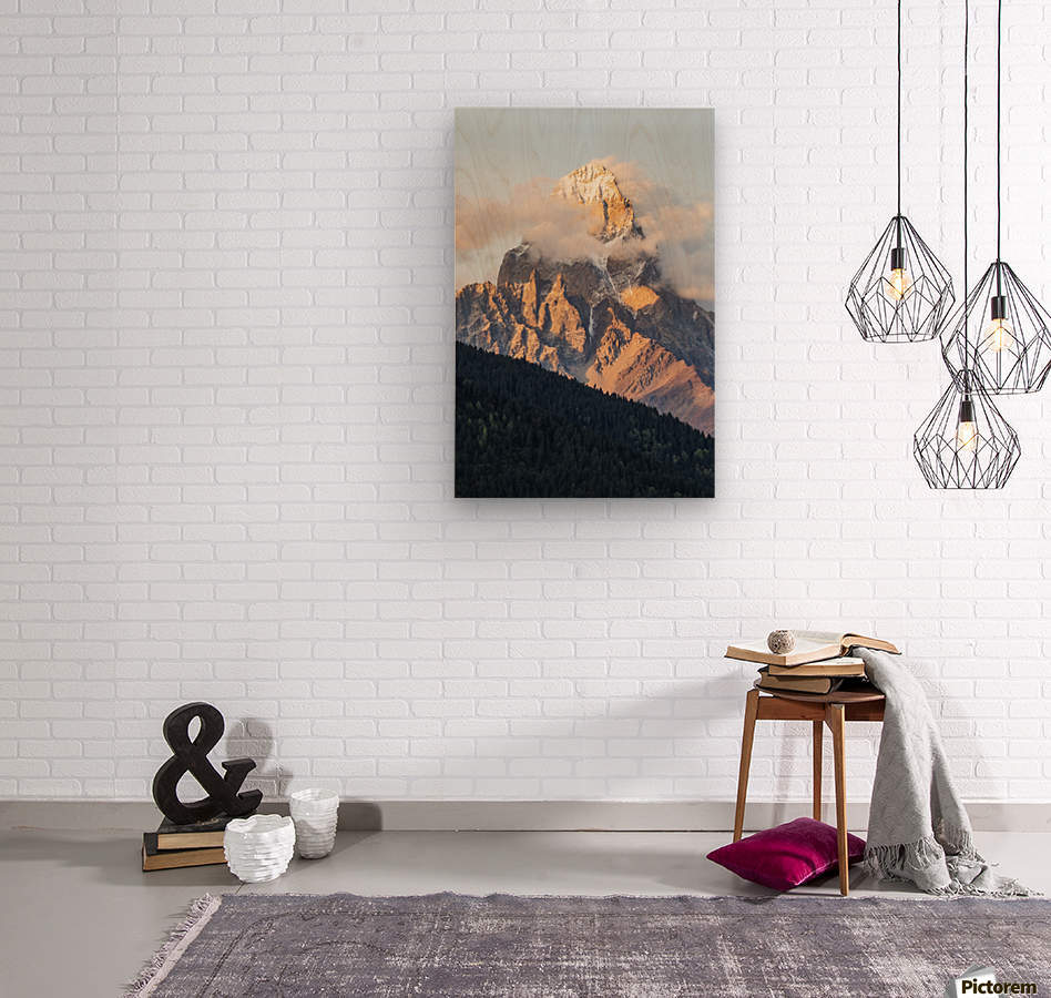 Mount Ushba, Caucasus Mountains, Zemo Svaneti National Park; Samegrelo-Zemo Svaneti, Georgia  Wood print