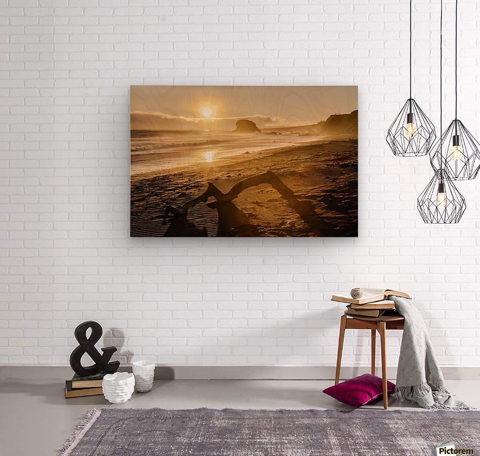 Seashore at sunset, San Simeon State Park; California, United States of America  Wood print