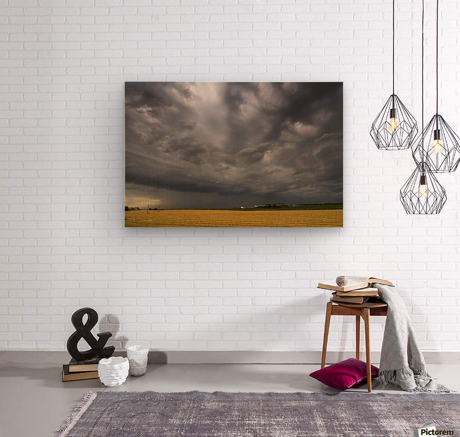 Dark storm clouds over a farm field; Whitburn, Tyne and Wear, England  Wood print