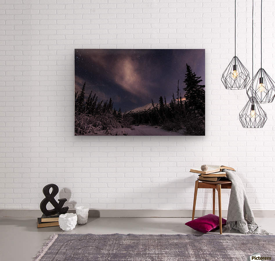 Night skies above Chugach Mountains and Eagle River Valley on winter solstice in South-central Alaska; Alaska, United States of America  Wood print