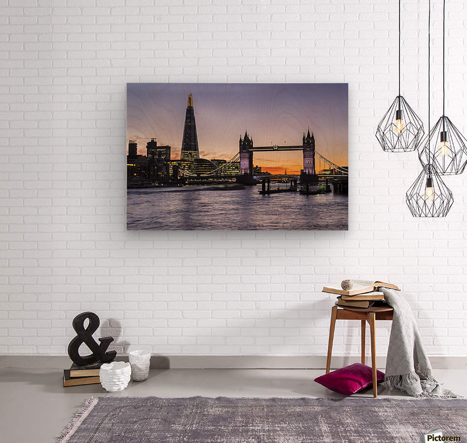 Tower Bridge and The Shard at dusk; London, England  Wood print