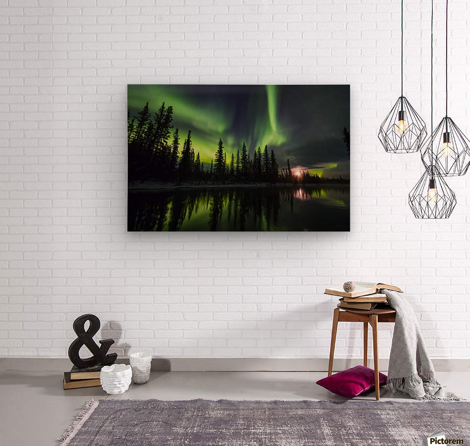 The aurora and rising moon reflect in the Clearwater River in Delta Junction; Alaska, United States of America  Wood print