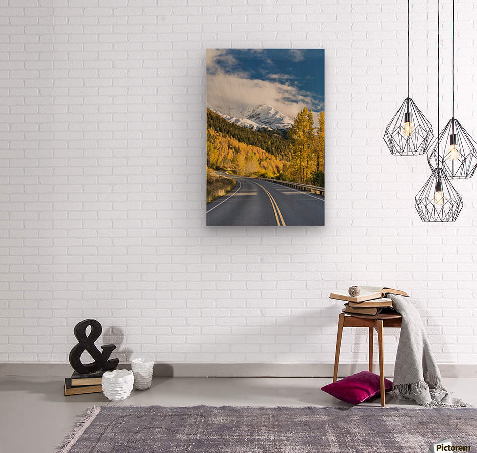 Snow-capped Kenai Mountains dwarf the Seward highway, trees covered in yellow leaves in autumn line the road, South-central Alaska; Seward, Alaska, United States of America  Wood print