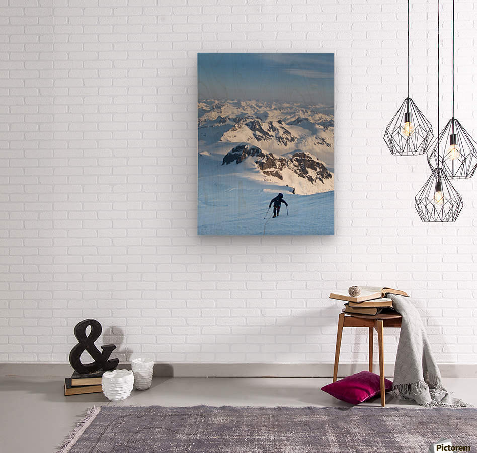 Climber Leaning Into High Winds On Northwest Ridge Of Mount Iliamna Above Tongue Glacier And Chigmit Mountains, Spring, Southcentral Alaska  Wood print