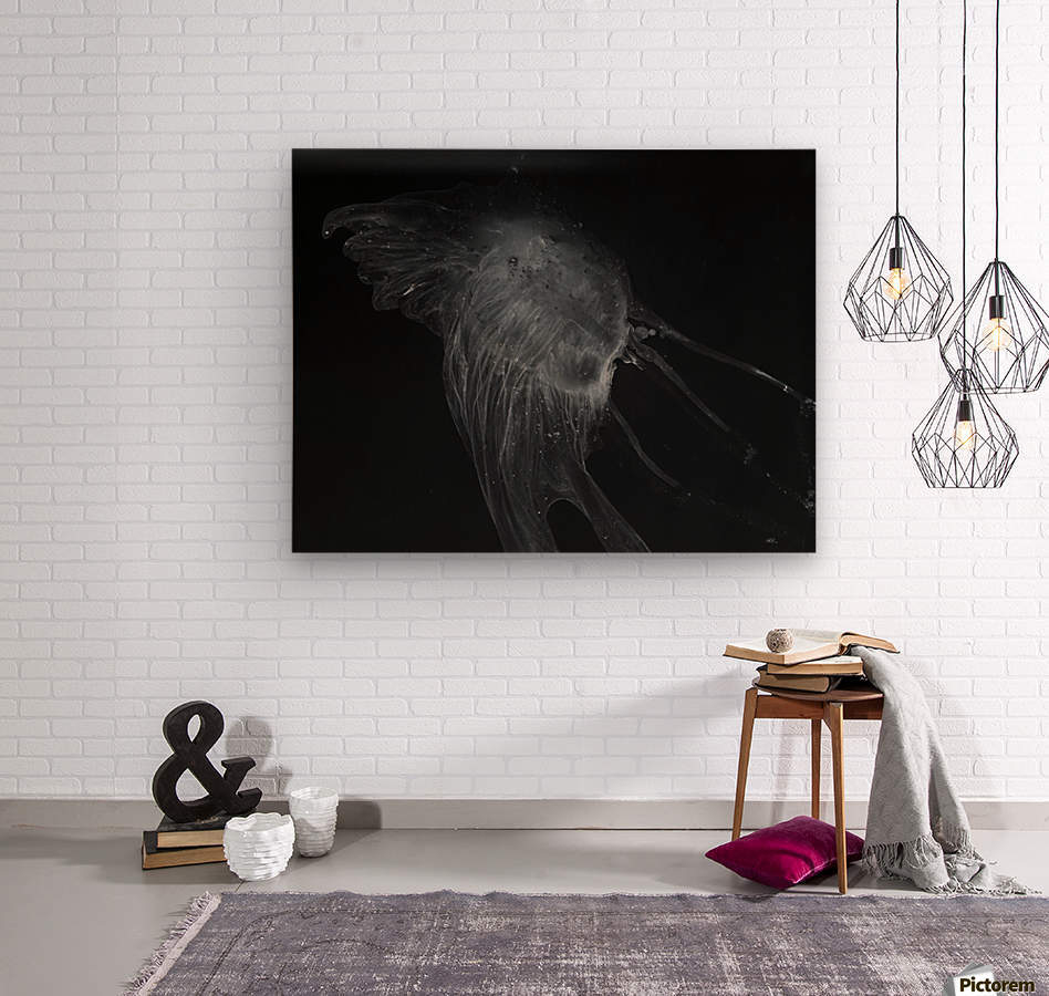 Glowing grey jellyfish in the dark water  Wood print