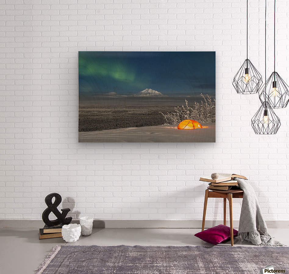 Green Aurora Borealis shines above moonlight casting light on Mount Drum and the Copper River Valley, a glowing tent on a foggy winter night, Copper River Valley, South-central Alaska; Alaska, United States of America  Wood print