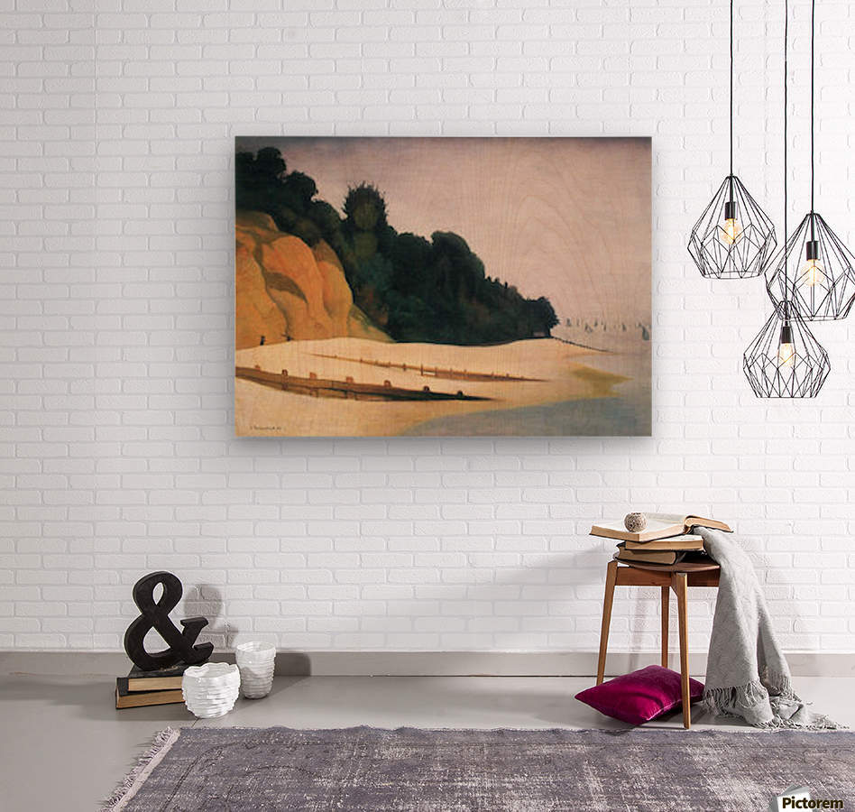 Shore scene with tree silhouette by Felix Vallotton  Wood print