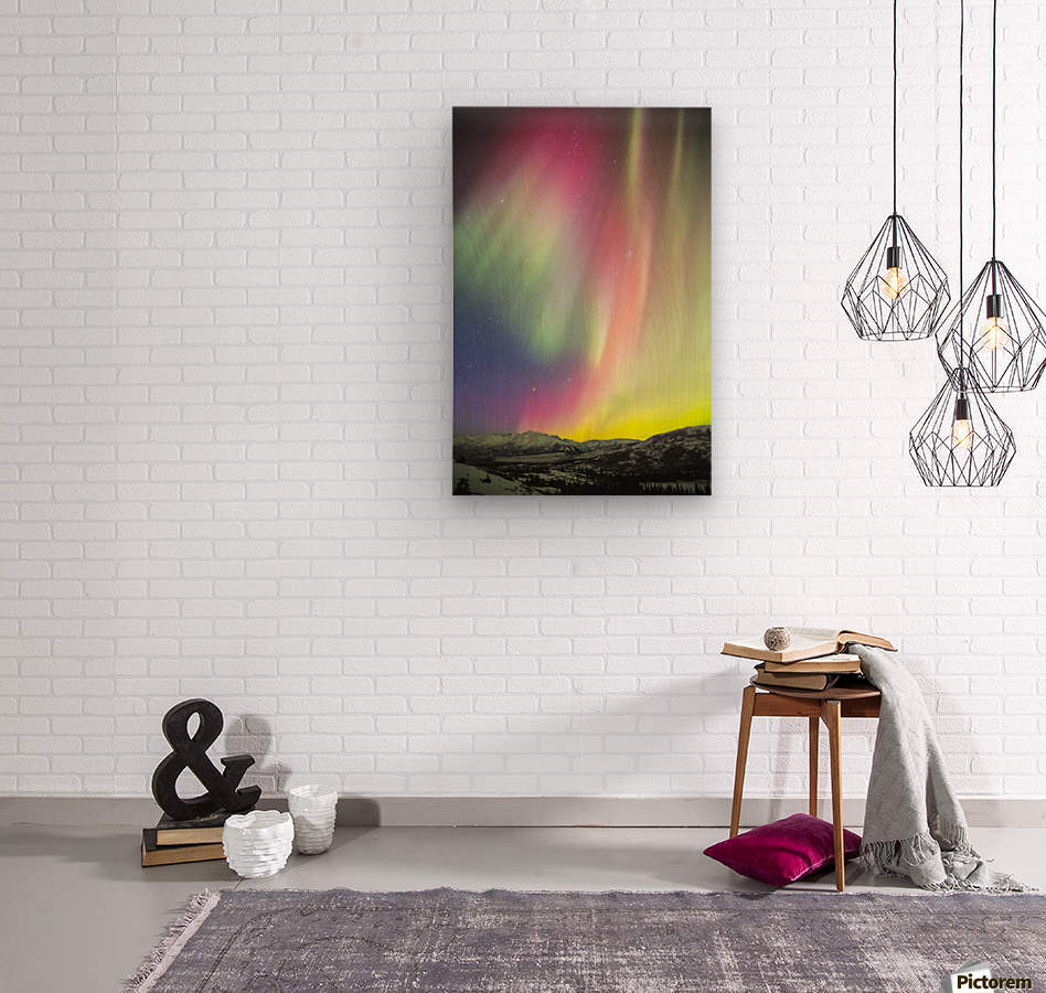A colourful aurora display over Granite Mountain, south of Delta Junction; Alaska, United States of America  Wood print