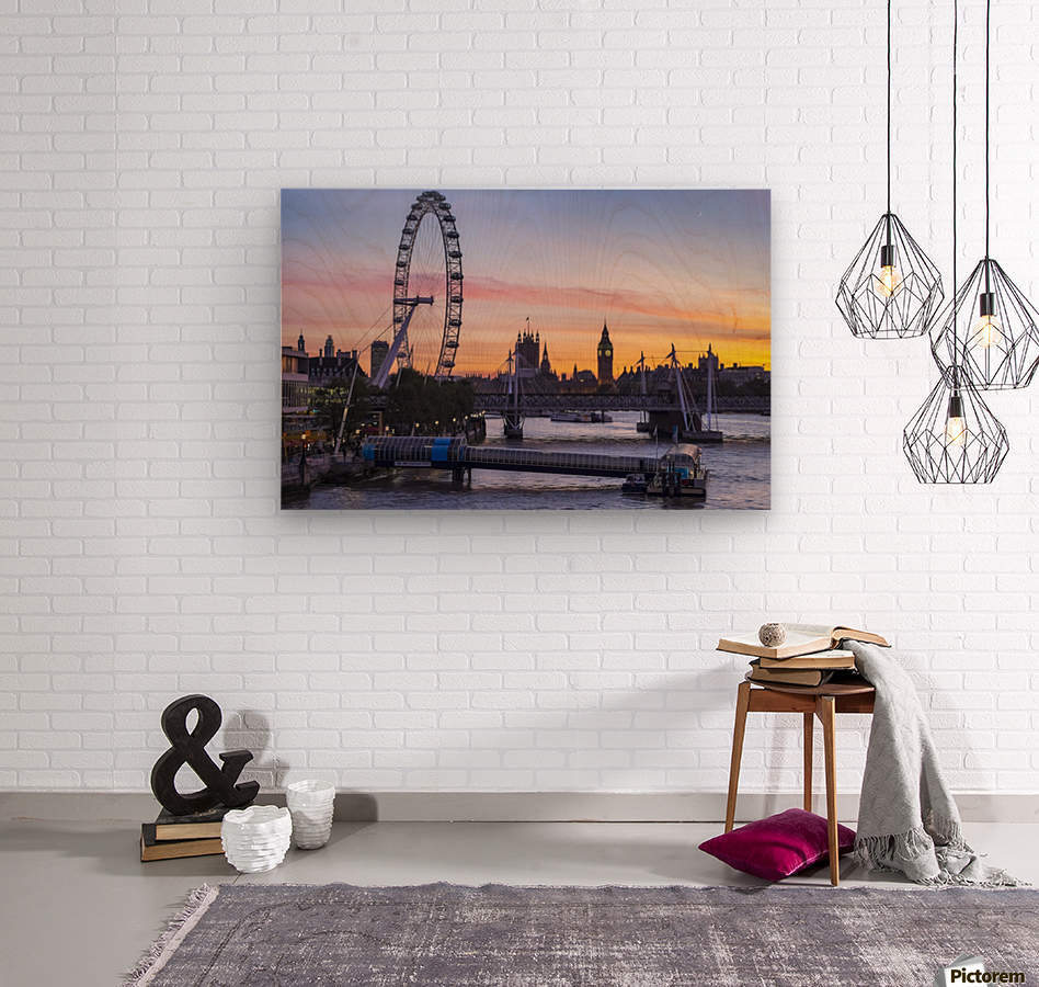 Millennium Wheel and skyline at sunset; London, England  Wood print