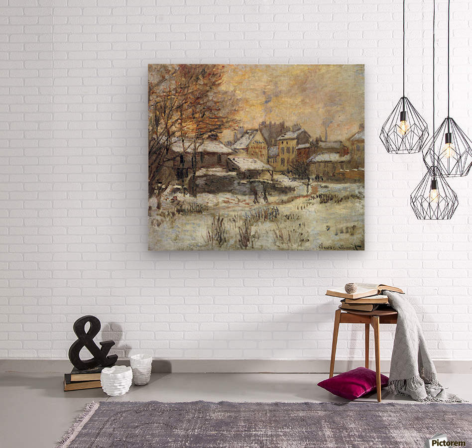 Snow at sunset, Argenteuil in the snow by Monet  Impression sur bois