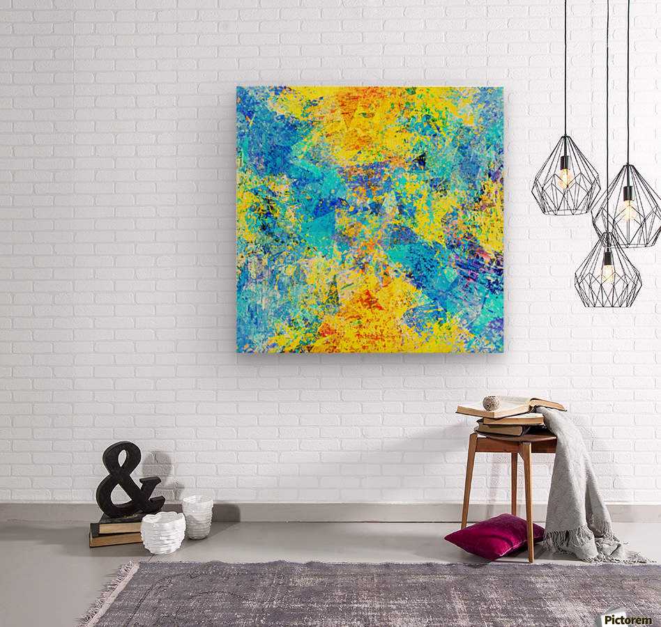 psychedelic geometric abstract pattern in yellow and blue  Wood print