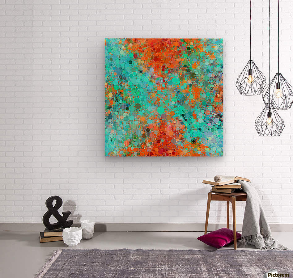 psychedelic geometric circle pattern and square pattern abstract in orange and blue  Wood print