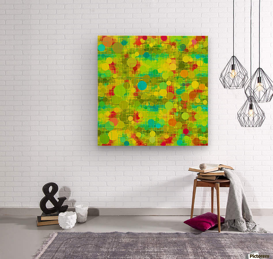 psychedelic geometric circle and square pattern abstract in yellow green blue red  Wood print
