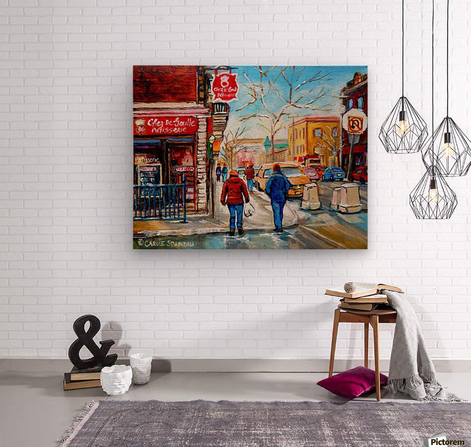 PATISSERIE CHEZ DEGAULLE MONTREAL WINTER STREET SCENE   Wood print