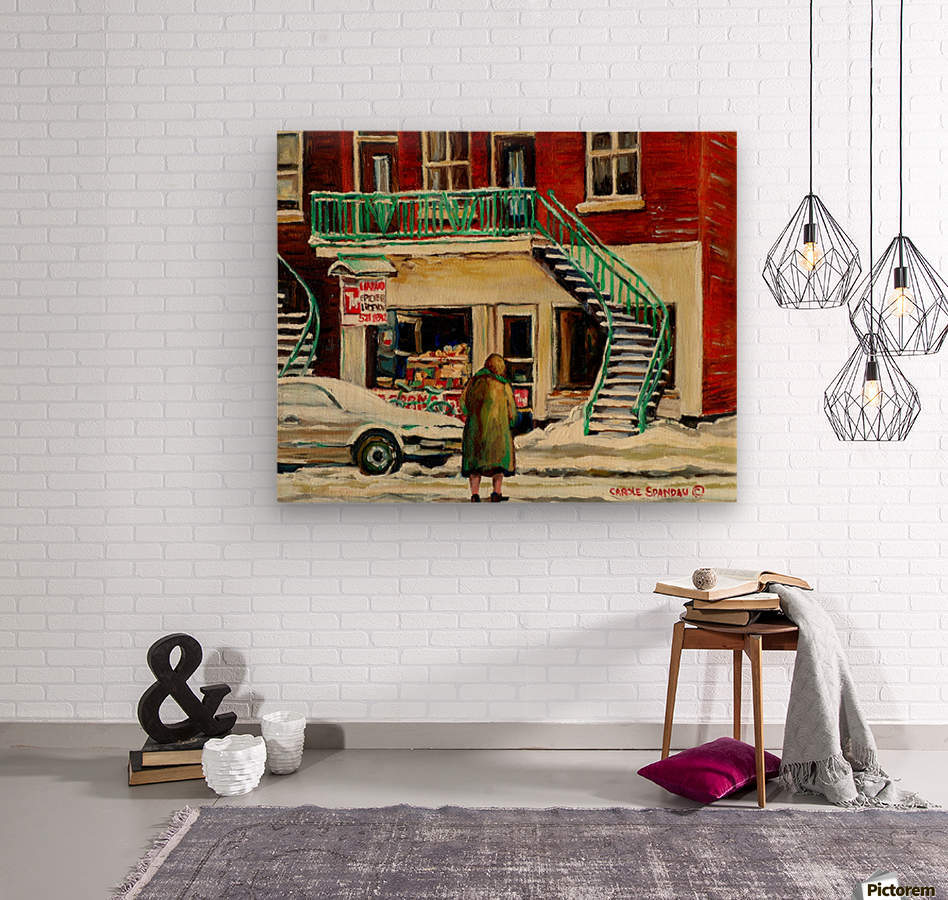 DEPANNEUR WITH ELDERLY LADY MONTREAL WINTER SCENE  Wood print