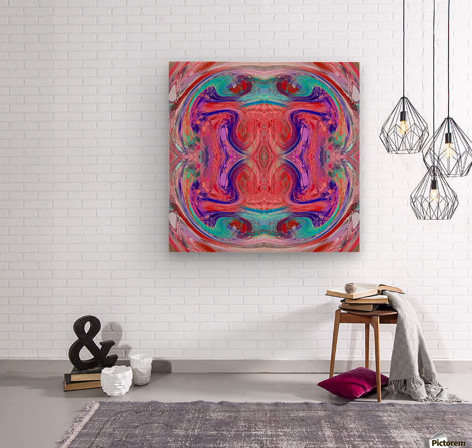 psychedelic geometric symmetry abstract pattern in red pink blue  Wood print
