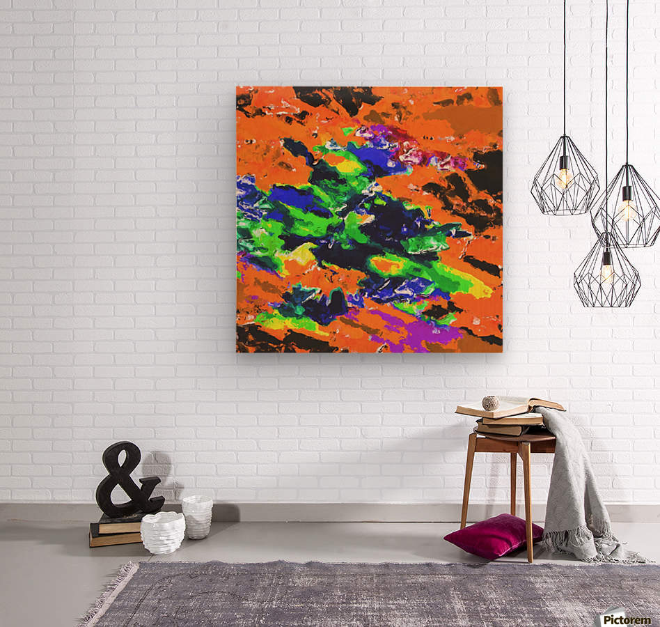 psychedelic splash painting abstract texture in brown green blue yellow pink  Wood print