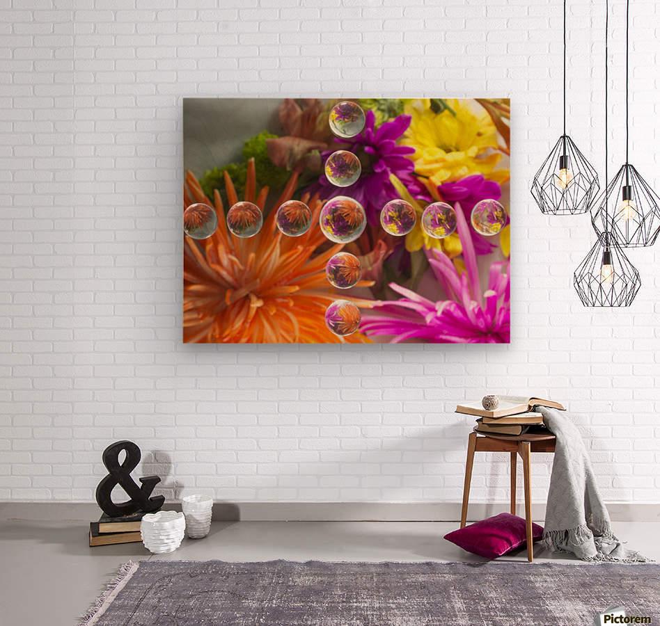 FLOWERS REFRACTION 16  Wood print