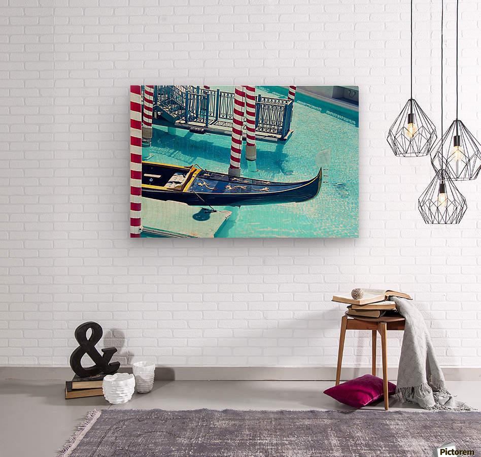 Classic Gondola boat and blue water  Wood print