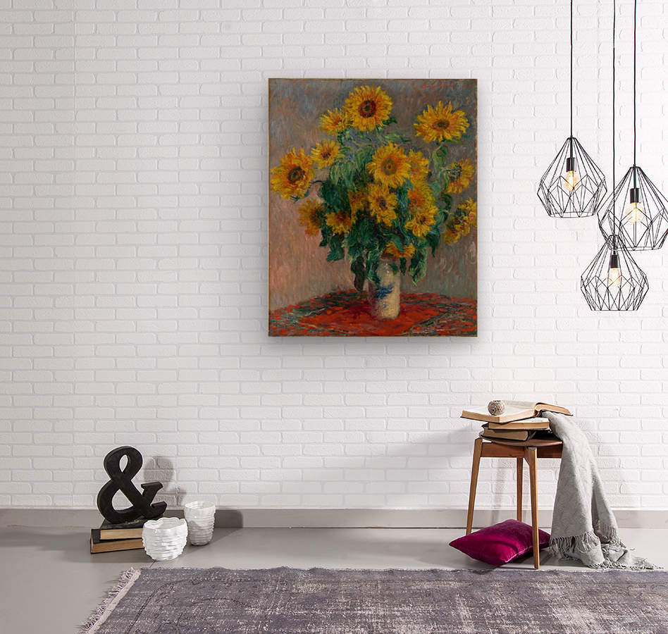 Still Life with Sunflowers by Monet  Wood print