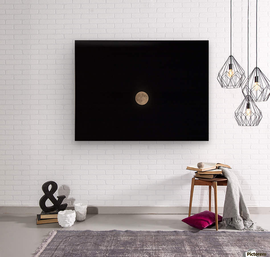 Photo image of a full moon on a clear night   Wood print