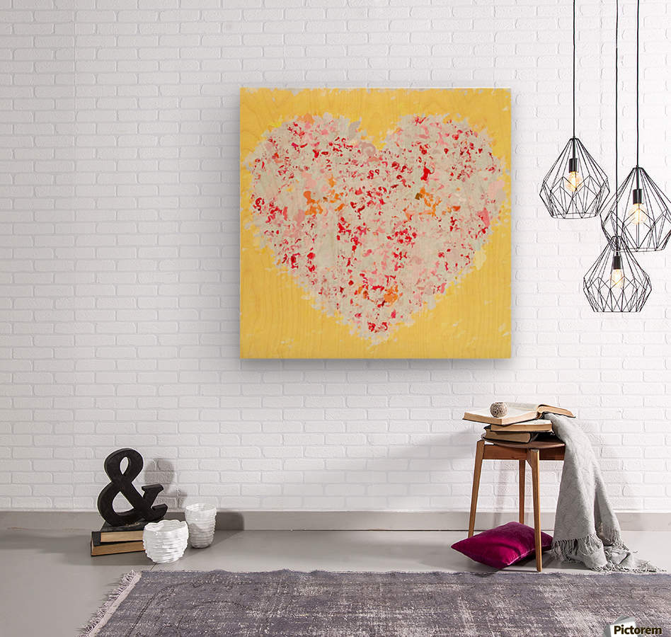 pink and red heart shape with yellow background  Wood print