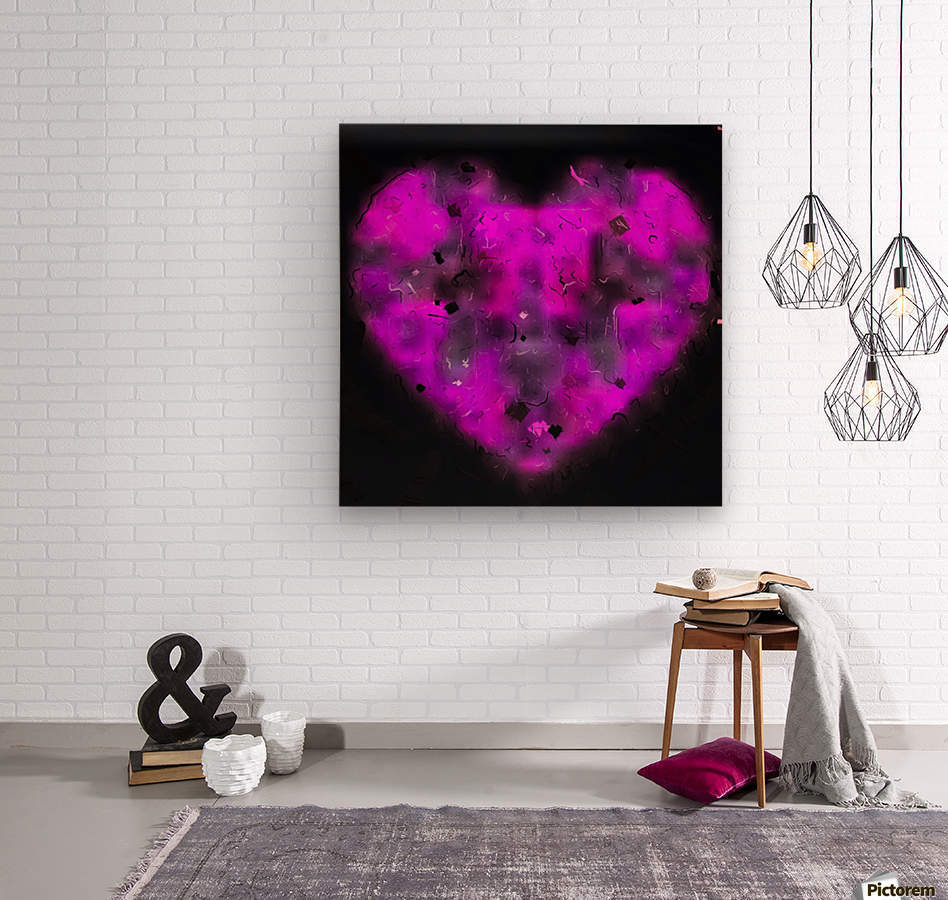 pink blurry heart shape with black background  Wood print