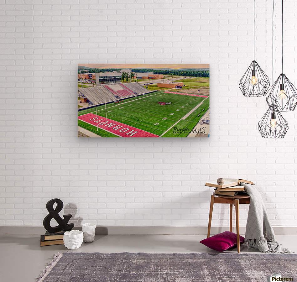 Maumelle, AR | Hornets Football Stadium Artistic   Wood print