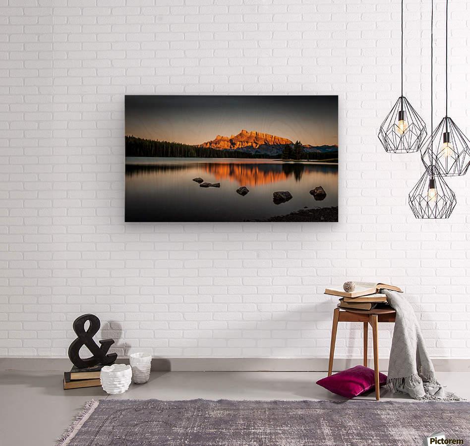 Rundle Mountain at TwoJacks Lake  Wood print