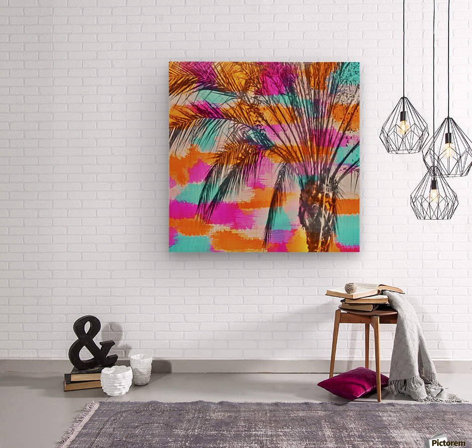 palm tree with colorful painting abstract background in pink orange blue  Wood print