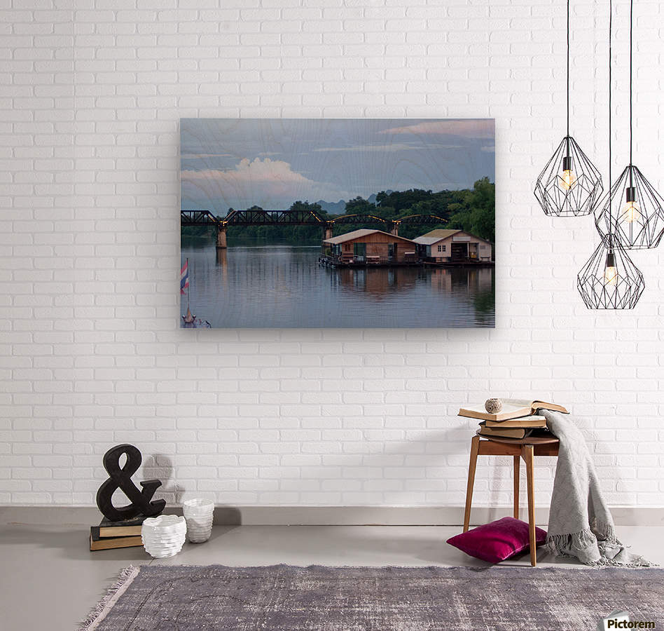 Boat trip on the river Kwai with sunset  Wood print