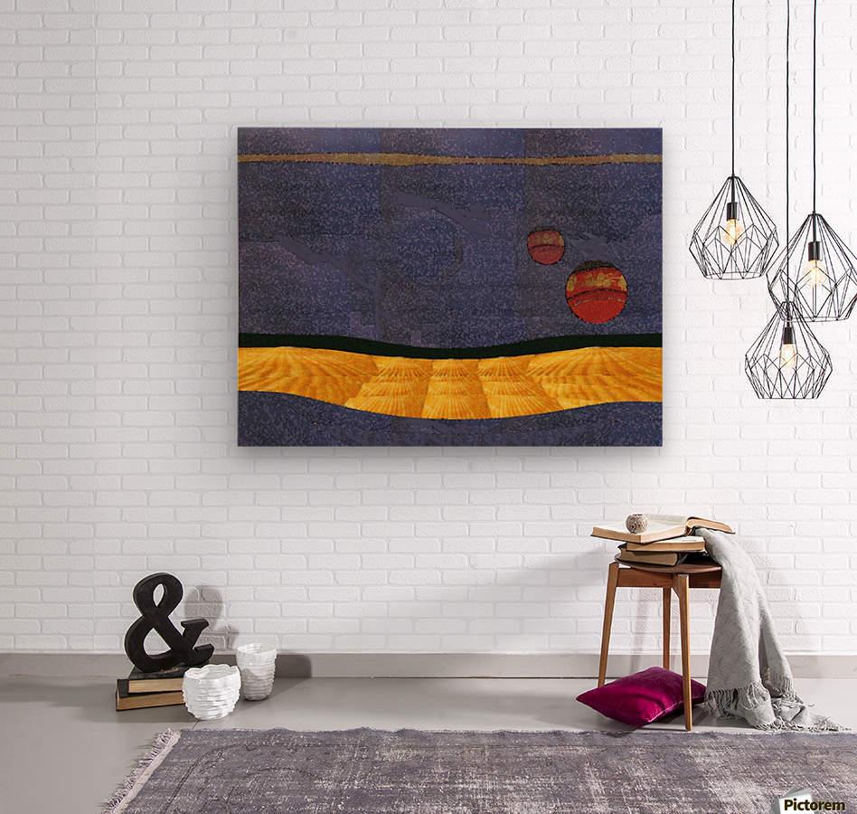 Two Moon Landscape 0628  Wood print