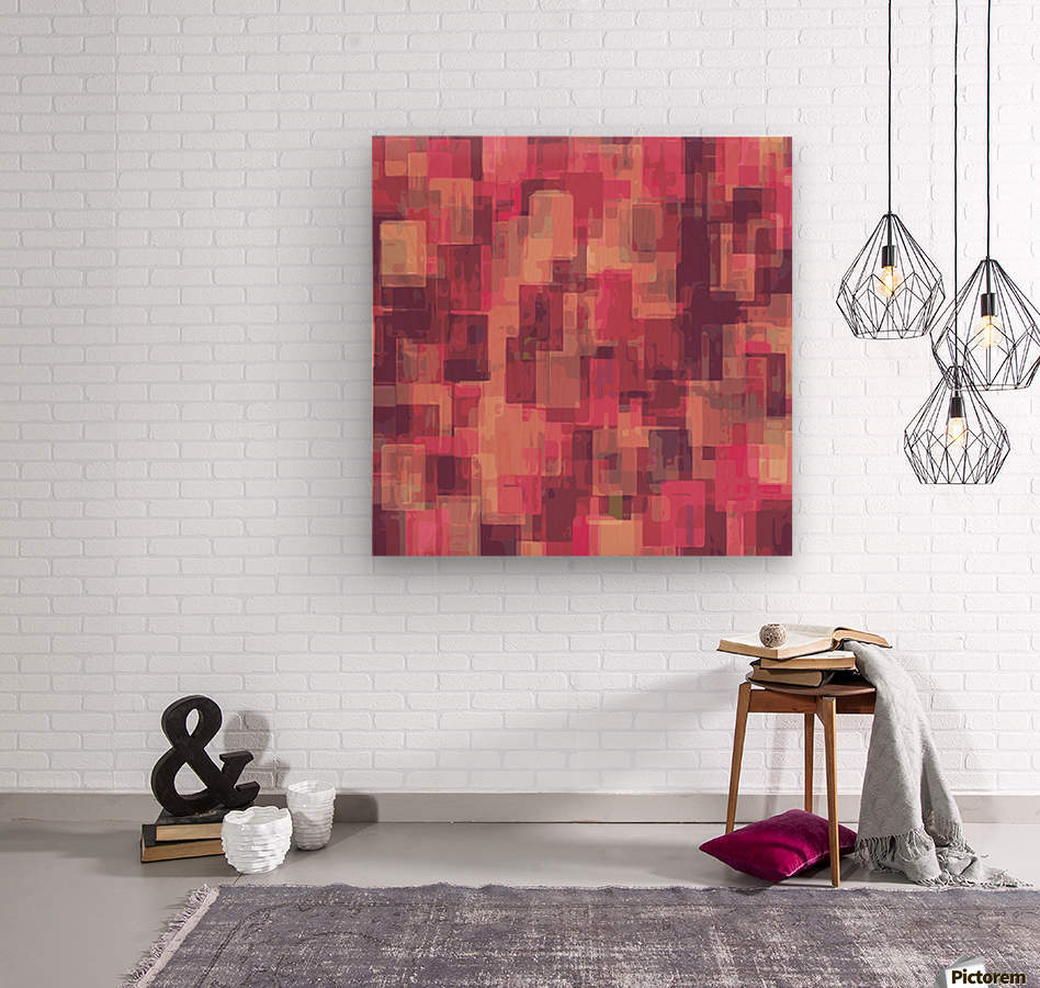 psychedelic geometric square pattern abstract in pink and purple  Wood print