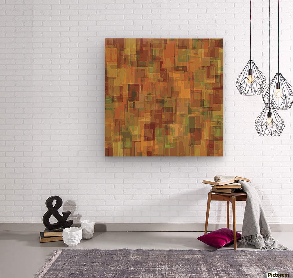vintage psychedelic geometric square pattern abstract in brown and green  Wood print