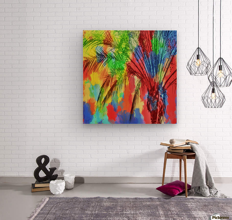 isolate palm tree with painting abstract background in red blue green yellow  Wood print