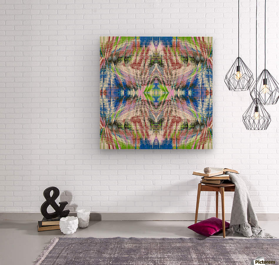 geometric symmetry pattern abstract background in pink blue green brown  Wood print