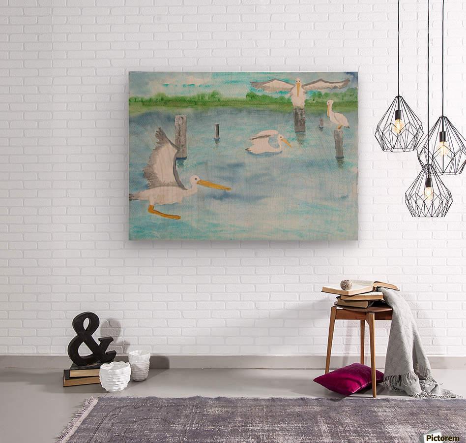 Pelicans in a coastal inlet.  Wood print
