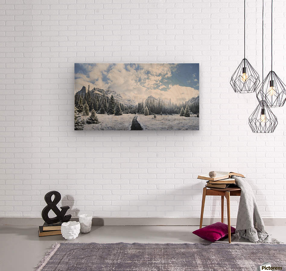 Mountain World  Wood print