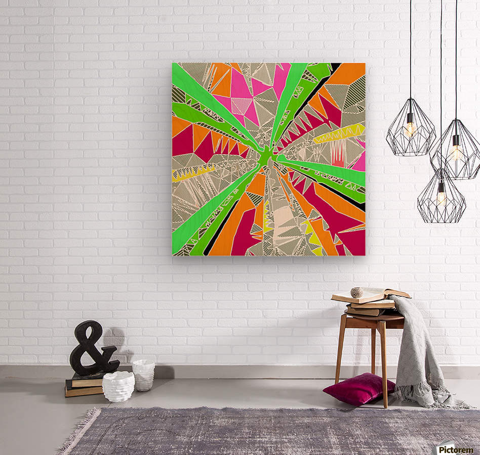 psychedelic geometric pattern drawing abstract background in green orange red pink  Wood print