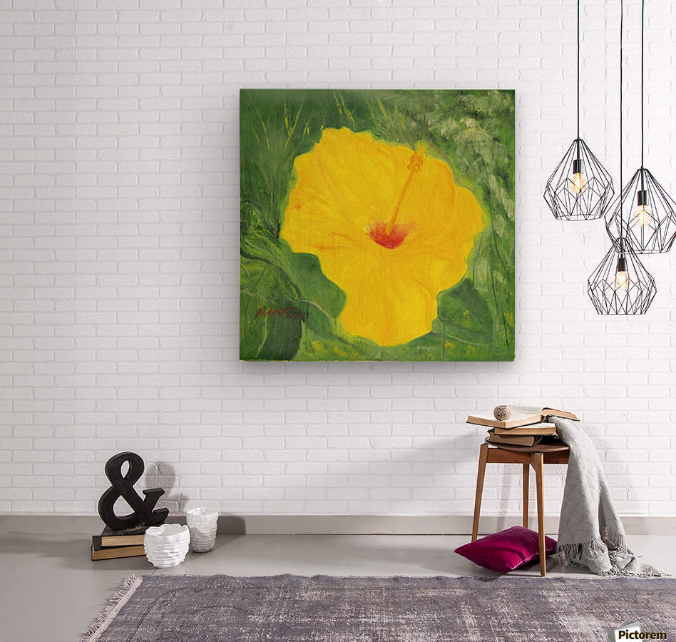 Yellow Hisbiscus Flower.  Wood print