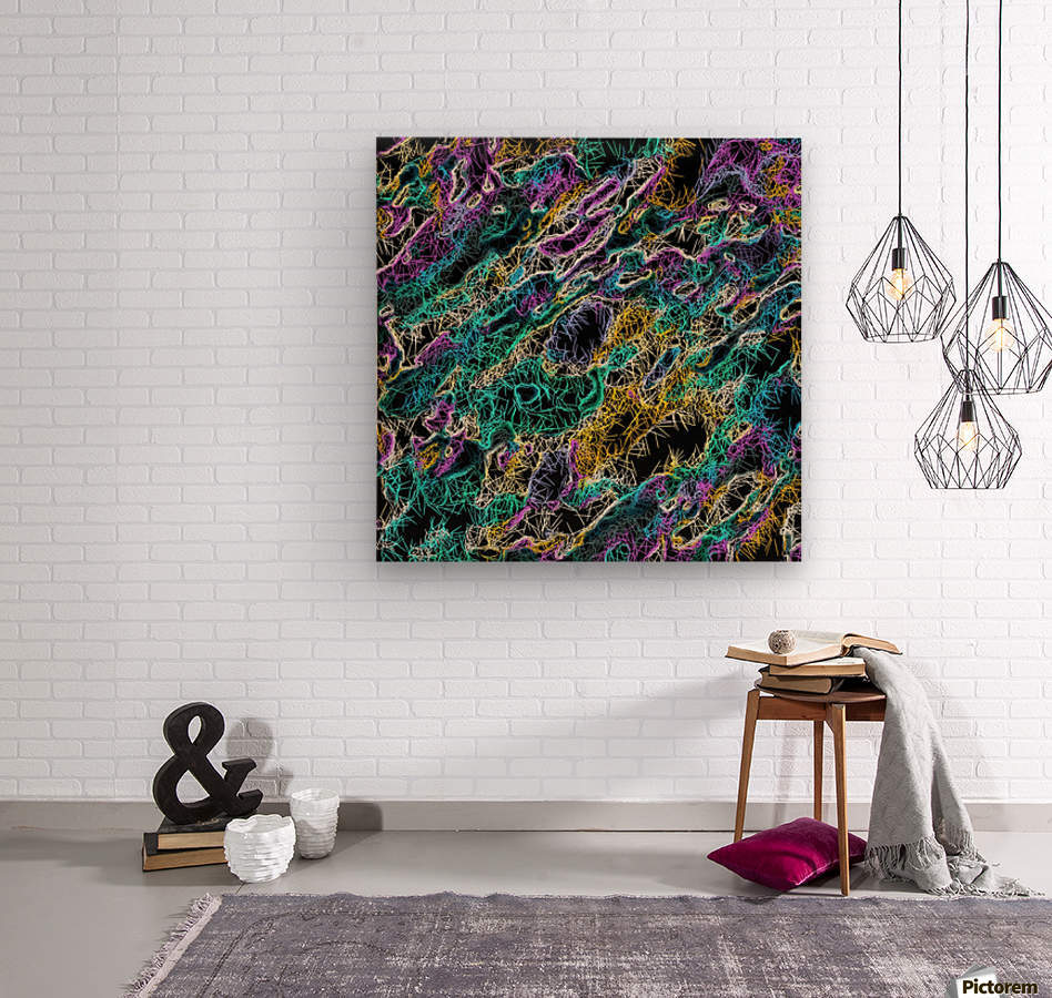 psychedelic rotten sketching texture abstract background in green purple yellow  Wood print