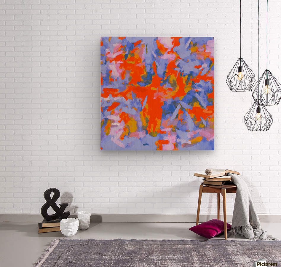 splash painting texture abstract background in red blue orange  Impression sur bois