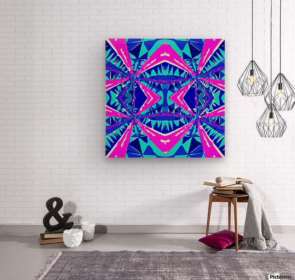 psychedelic geometric abstract pattern background in blue pink purple  Wood print