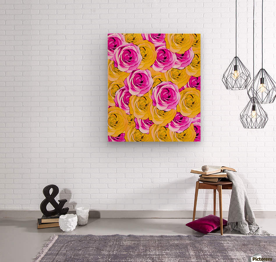 pink rose and yellow rose pattern abstract background  Wood print
