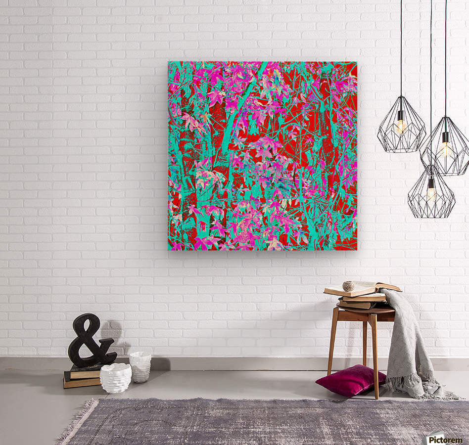 pink maple tree leaf with blue and red abstract background  Wood print