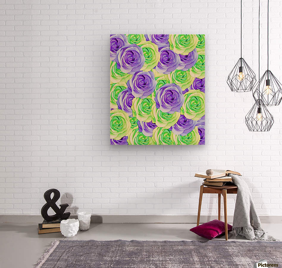 purple rose and green rose pattern abstract background  Wood print
