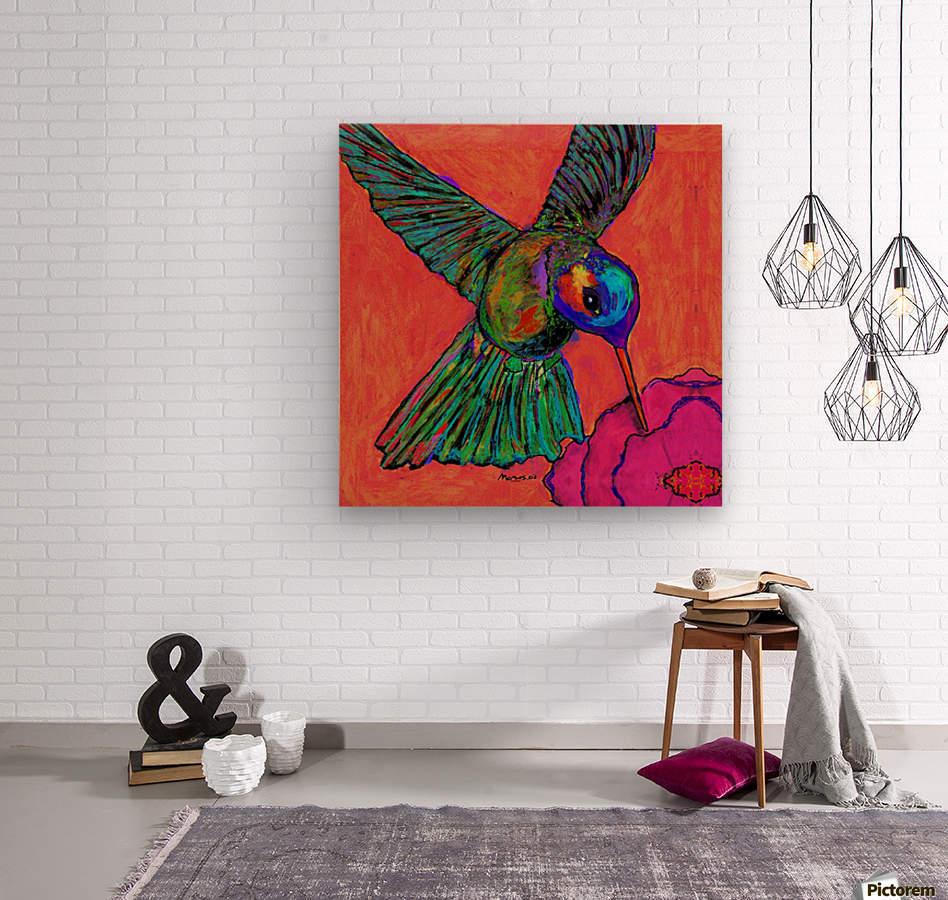 HUMMINGBIRD ON ORANGE  Wood print